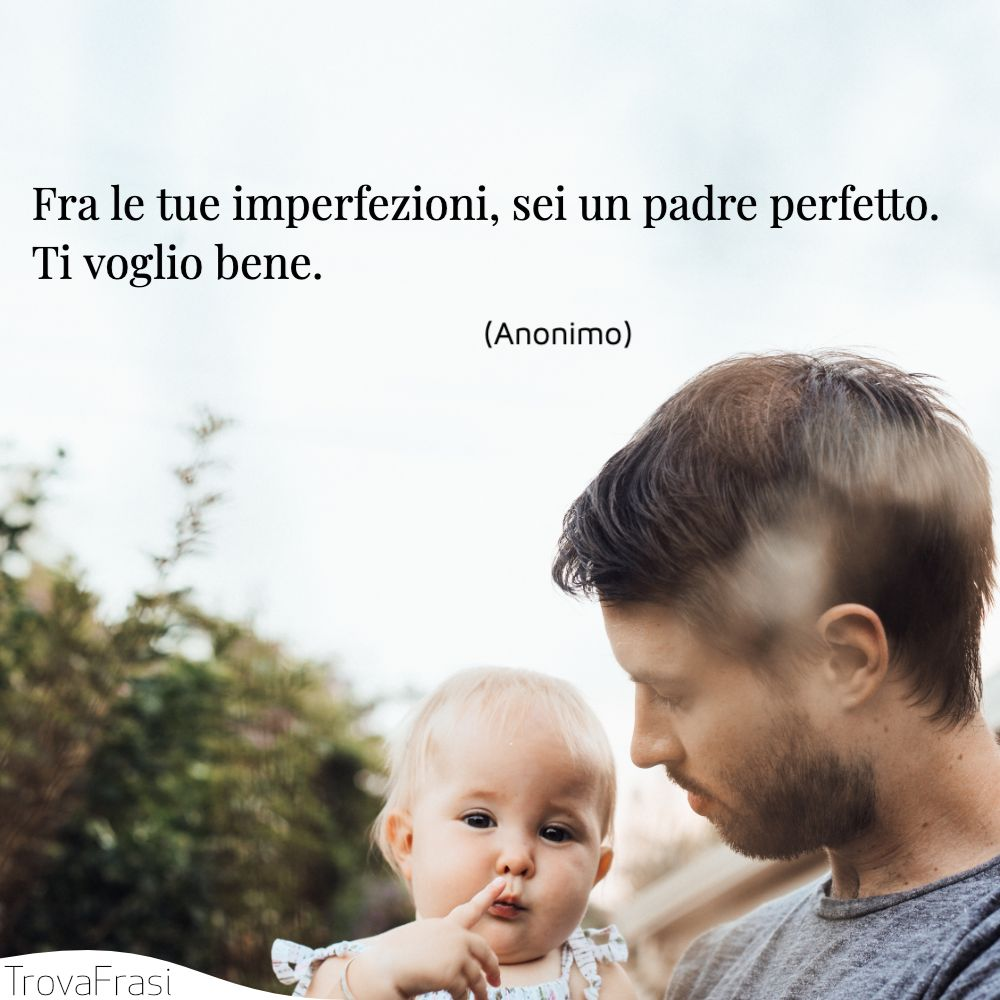 Fra le tue imperfezioni, sei un padre perfetto. Ti voglio bene.