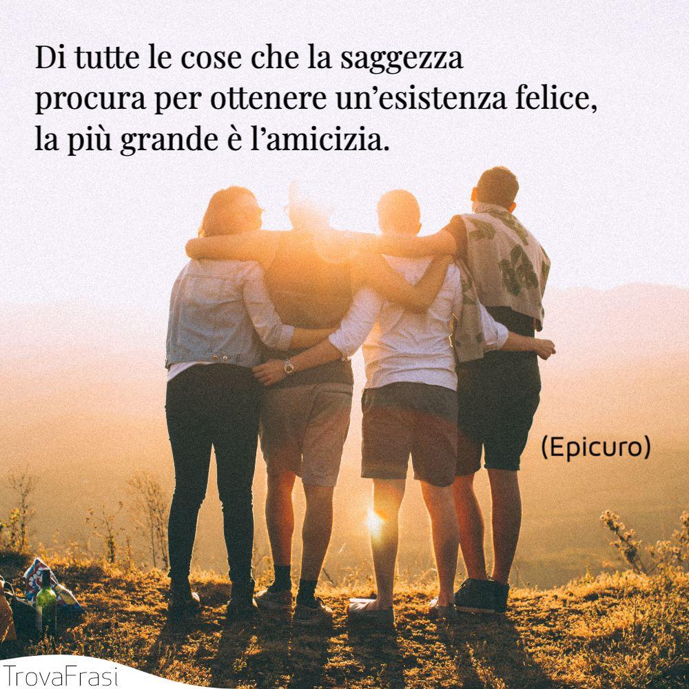 Di tutte le cose che la saggezza procura per ottenere un'esistenza felice, la più grande è l'amicizia.