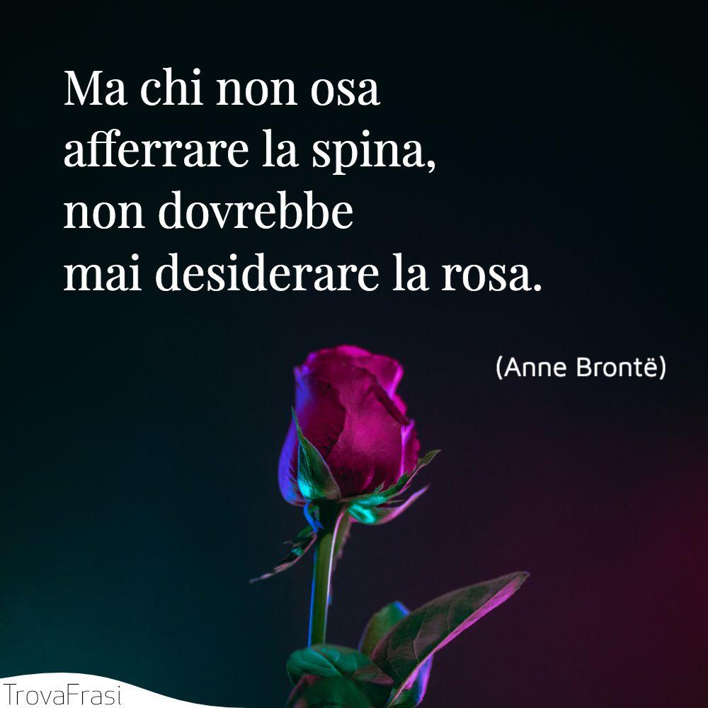 Ma chi non osa afferrare la spina, non dovrebbe mai desiderare la rosa.