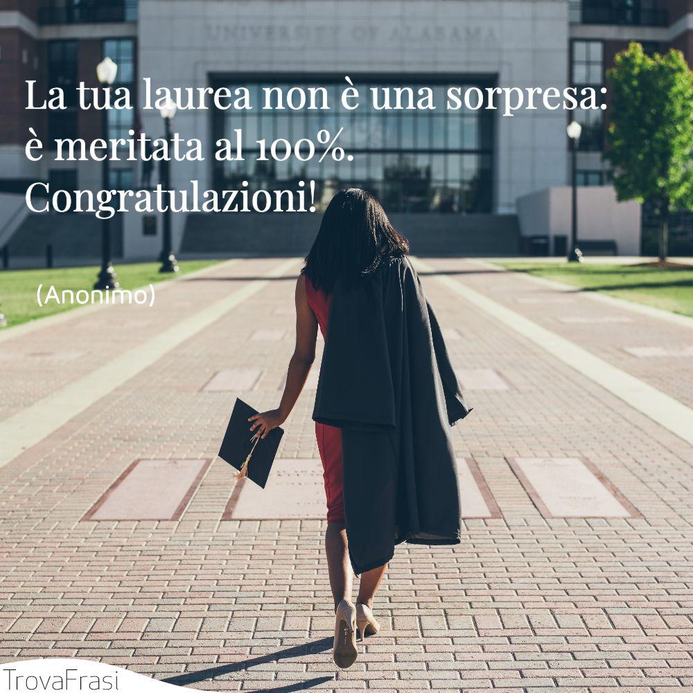 La tua laurea non è una sorpresa: è meritata al 100%. Congratulazioni!