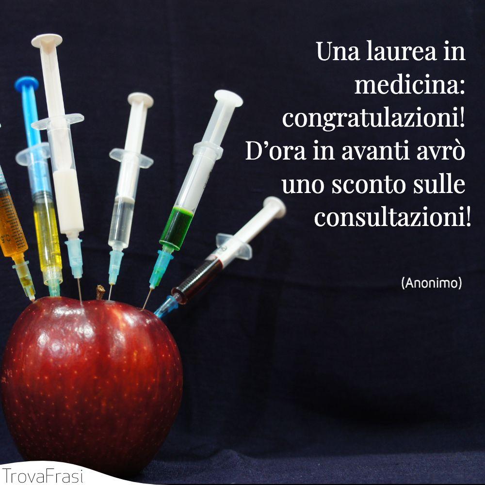 Una laurea in medicina: congratulazioni! D'ora in avanti avrò uno sconto sulle consultazioni!