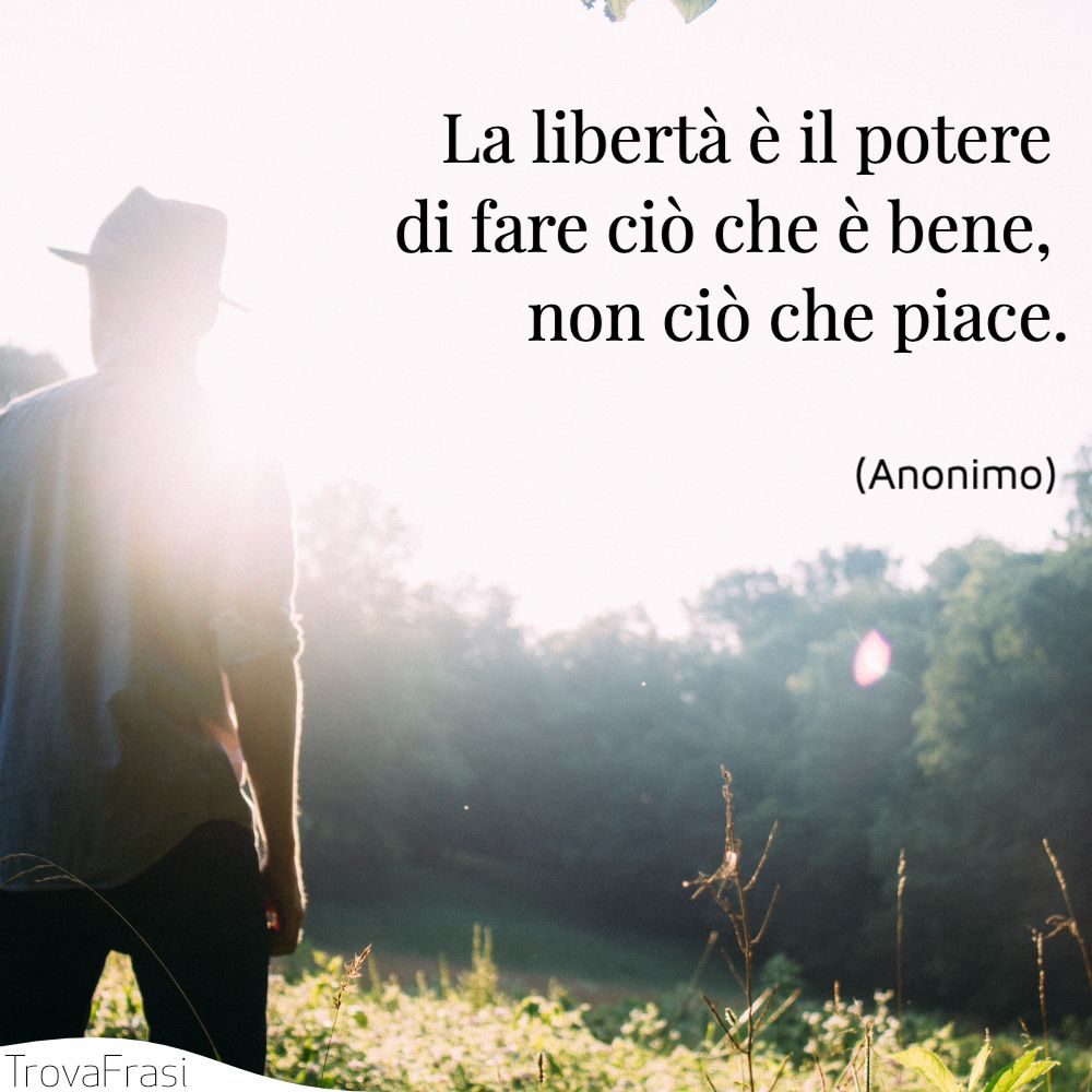 La libertà è il potere di fare ciò che è bene, non ciò che piace.