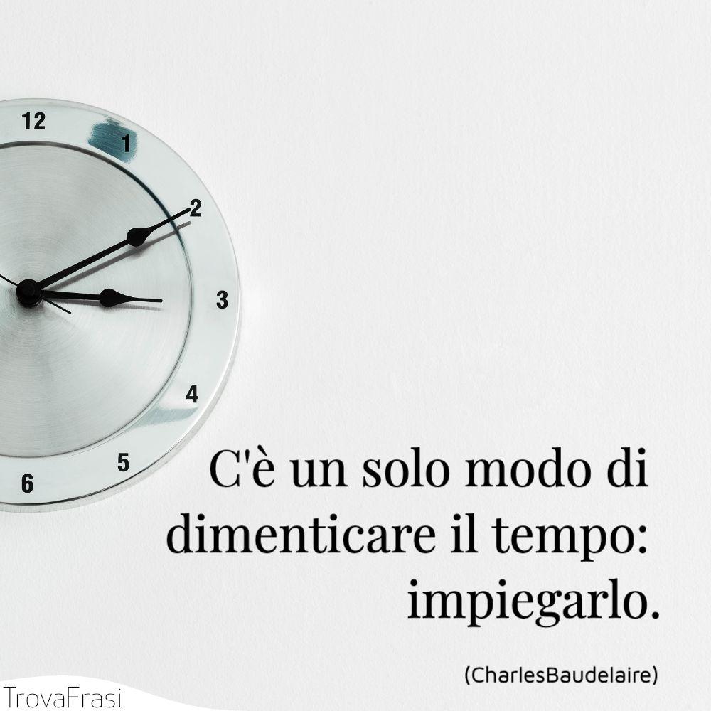 C'è un solo modo di dimenticare il tempo: impiegarlo.