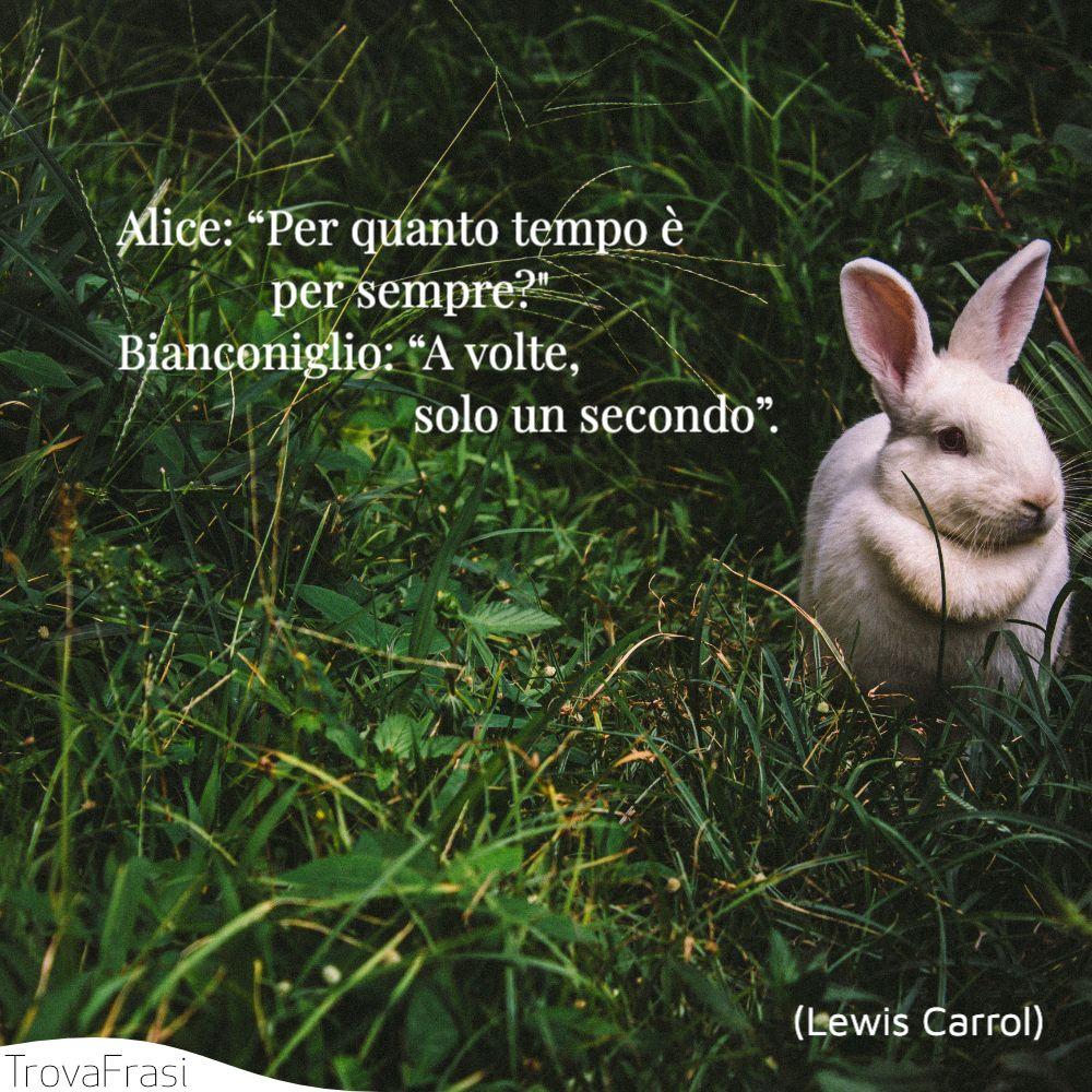 """Alice: """"Per quanto tempo è per sempre?""""Bianconiglio: """"A volte, solo un secondo""""."""