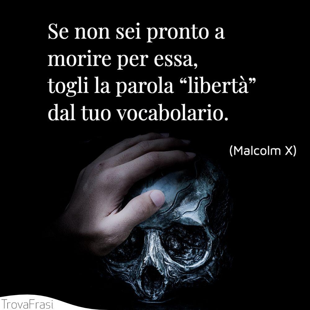 """Se non sei pronto a morire per essa, togli la parola """"libertà"""" dal tuo vocabolario."""