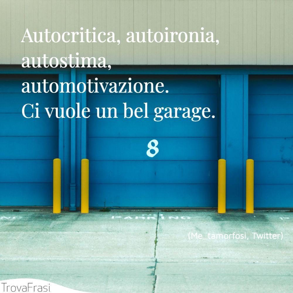Autocritica, autoironia, autostima, automotivazione. Ci vuole un bel garage.