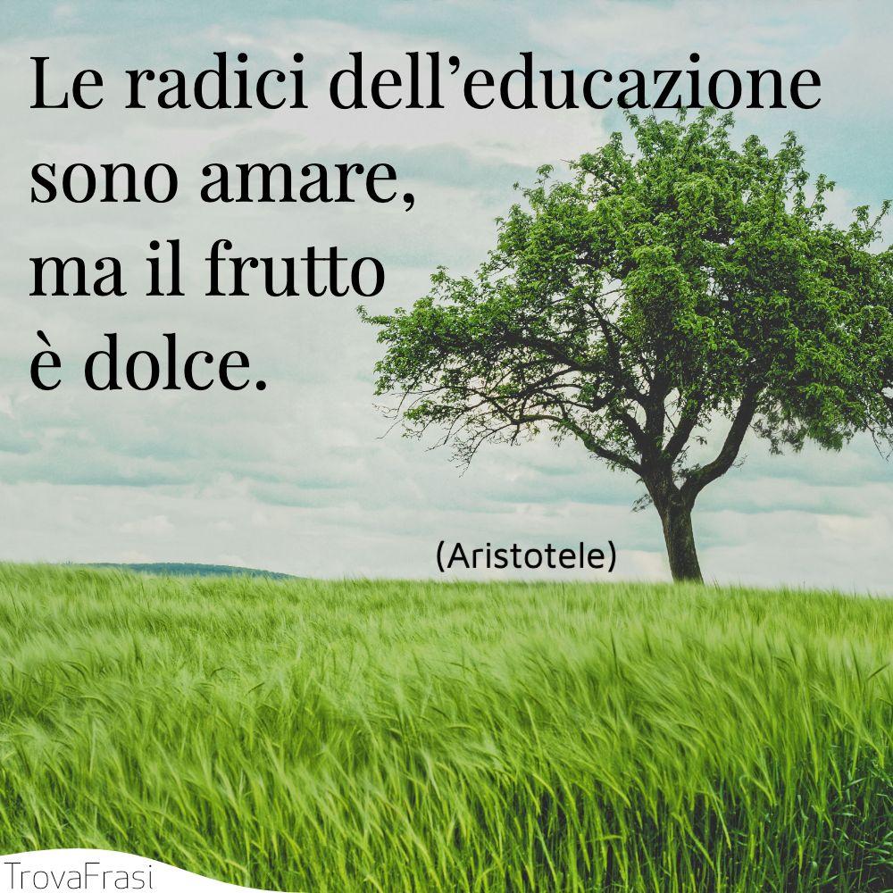 Le radici dell'educazione sono amare, ma il frutto è dolce.