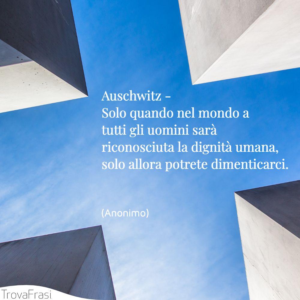 Auschwitz - Solo quando nel mondo a tutti gli uomini sarà riconosciuta la dignità umana, solo allora potrete dimenticarci.