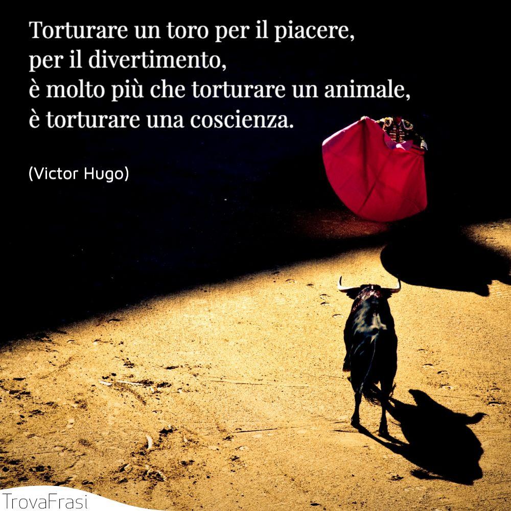 Torturare un toro per il piacere, per il divertimento, è molto più che torturare un animale, è torturare una coscienza.