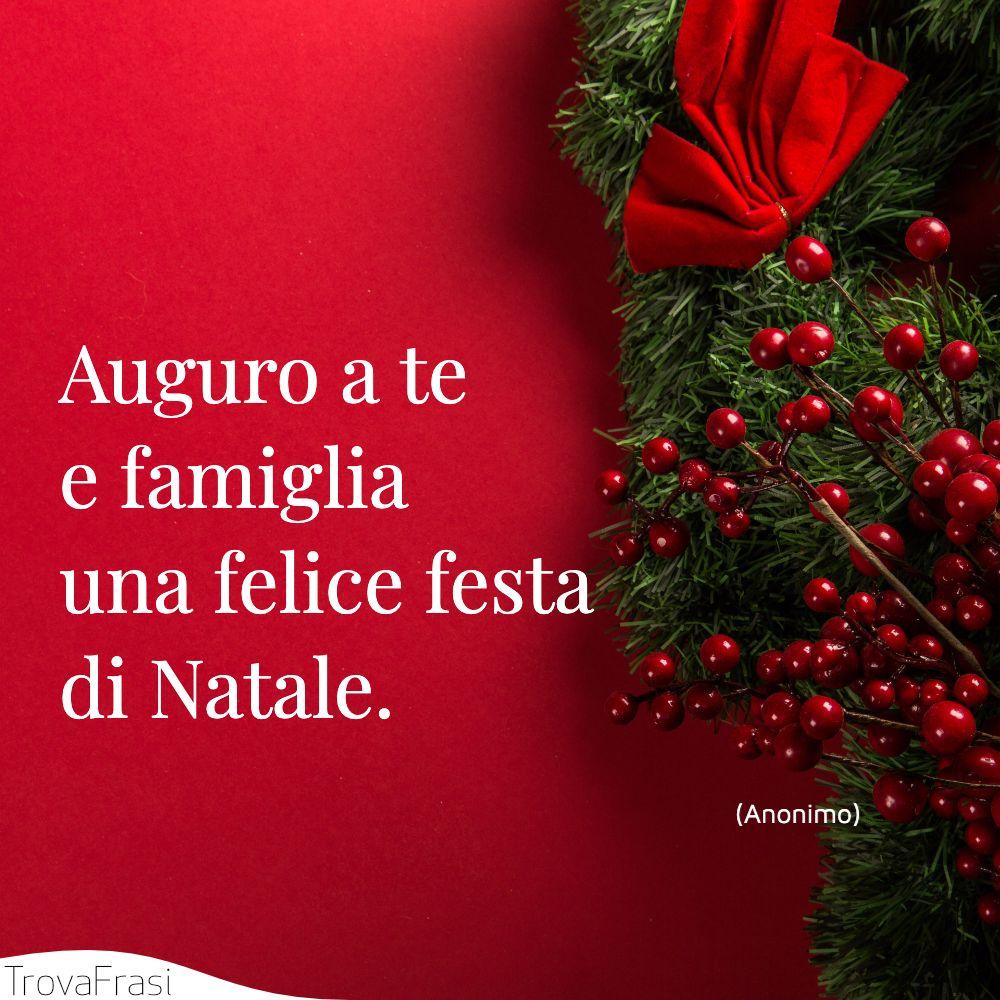 Auguro a te e famiglia una felice festa di Natale.