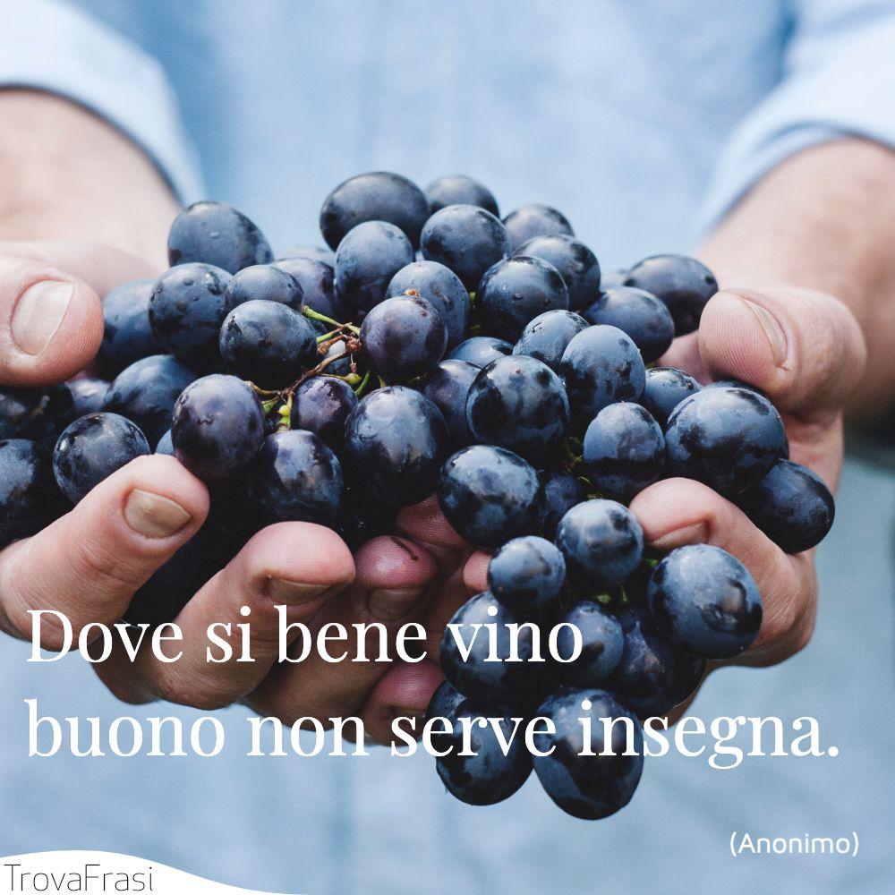 Dove si bene vino buono non serve insegna.