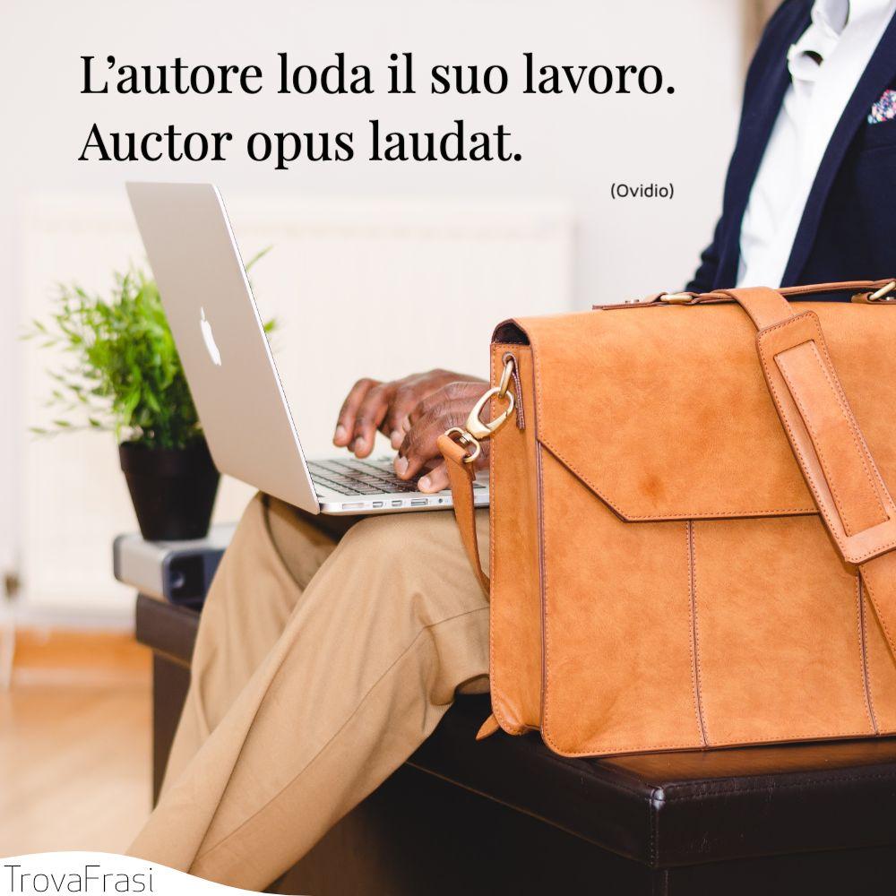 L'autore loda il suo lavoro.Auctor opus laudat.