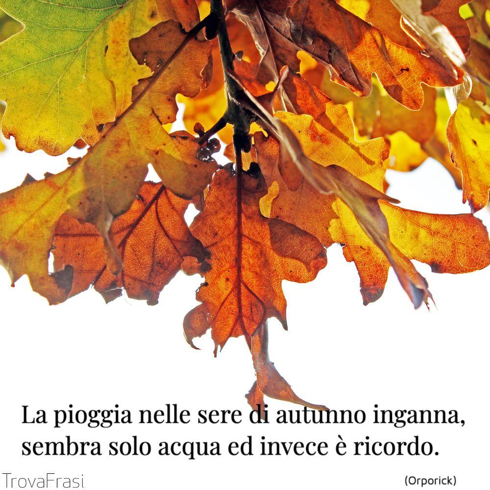 La pioggia nelle sere di autunno inganna, sembra solo acqua ed invece è ricordo.