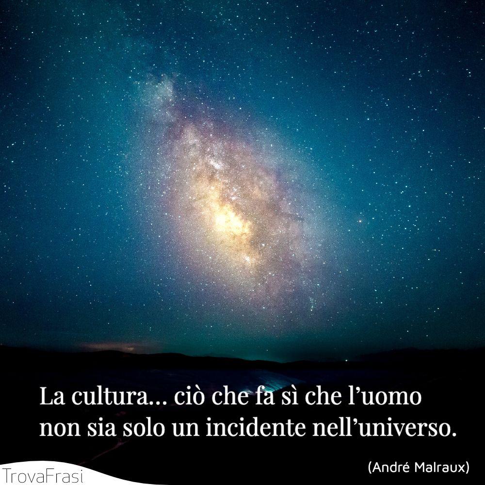 La cultura… ciò che fa sì che l'uomo non sia solo un incidente nell'universo.