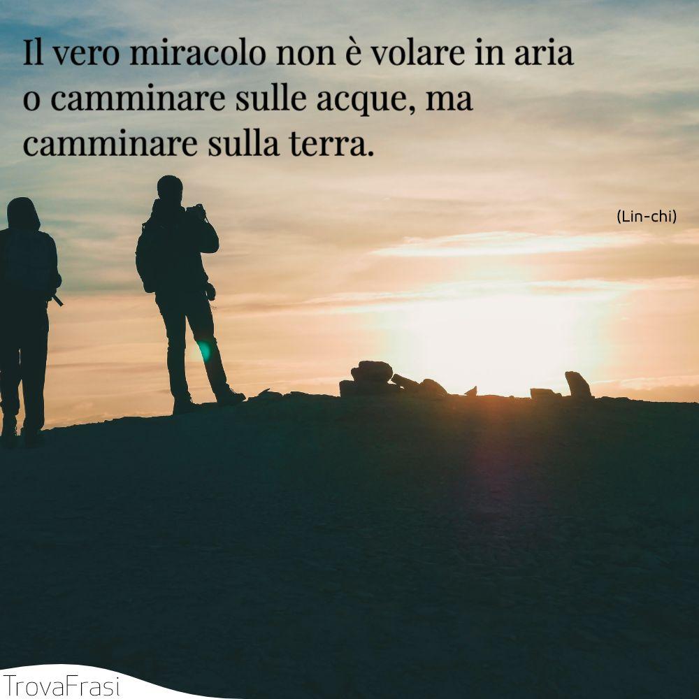 Il vero miracolo non è volare in aria o camminare sulle acque, ma camminare sulla terra.