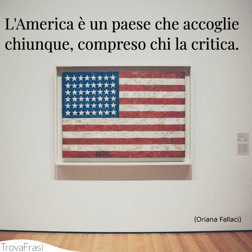 L'America è un paese che accoglie chiunque, compreso chi la critica.