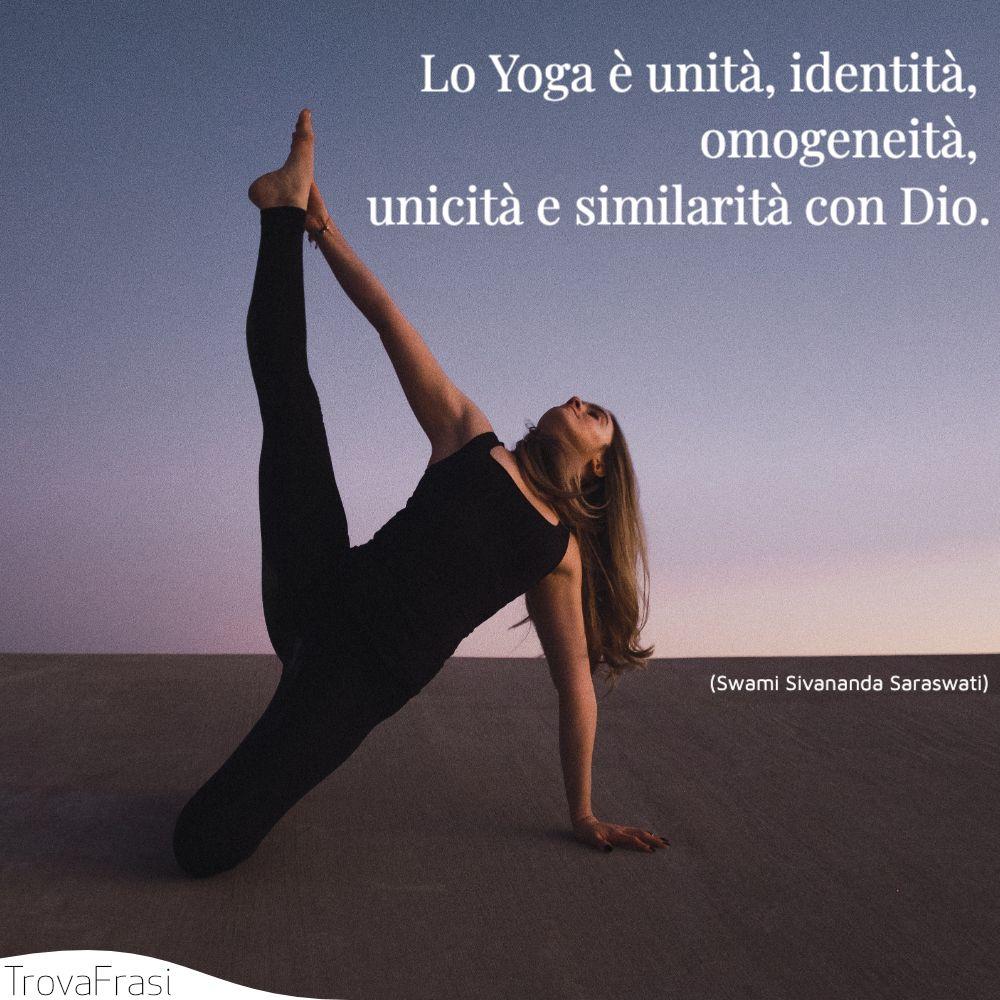 Lo Yoga è unità, identità, omogeneità, unicità e similarità con Dio.