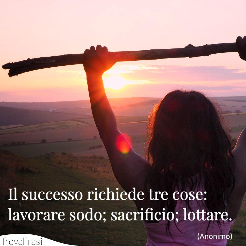 Il successo richiede tre cose: lavorare sodo; sacrificio; lottare.
