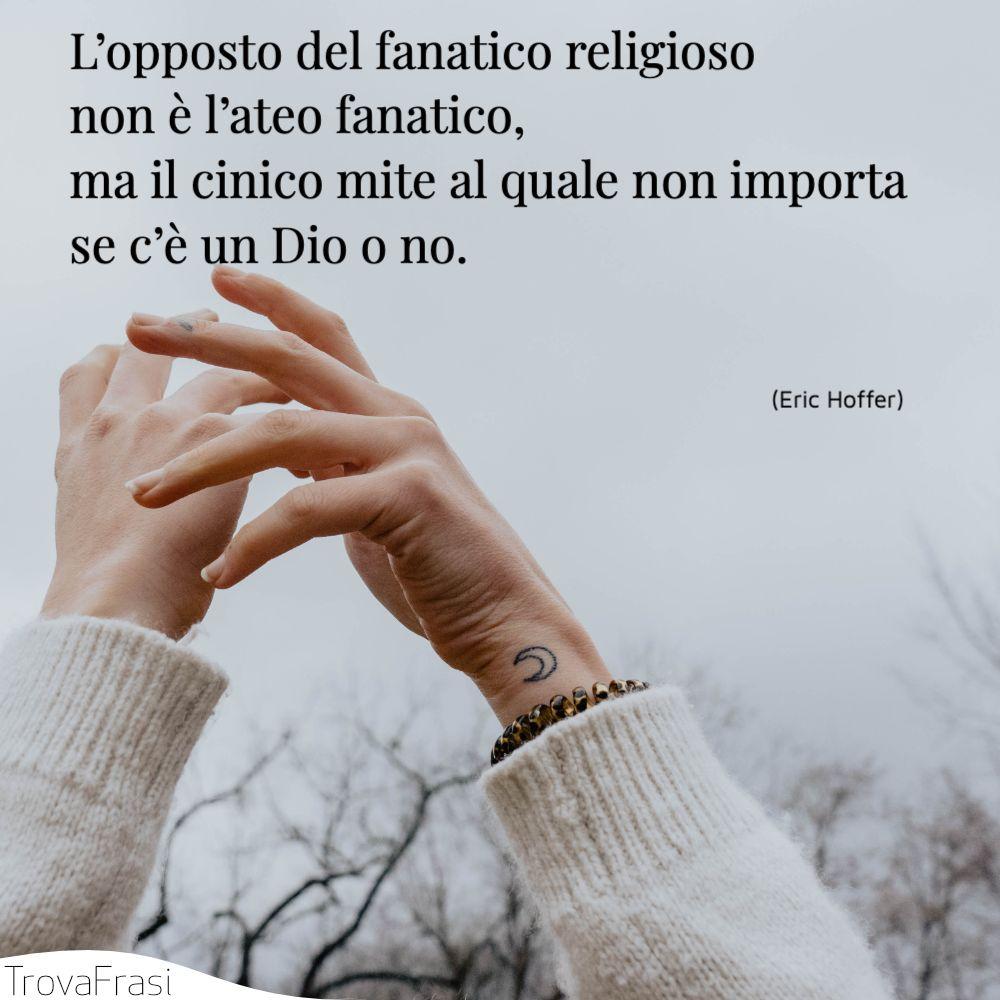 L'opposto del fanatico religioso non è l'ateo fanatico, ma il cinico mite al quale non importa se c'è un Dio o no.