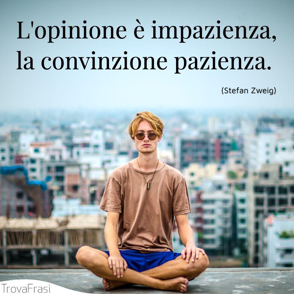 L'opinione è impazienza, la convinzione pazienza.