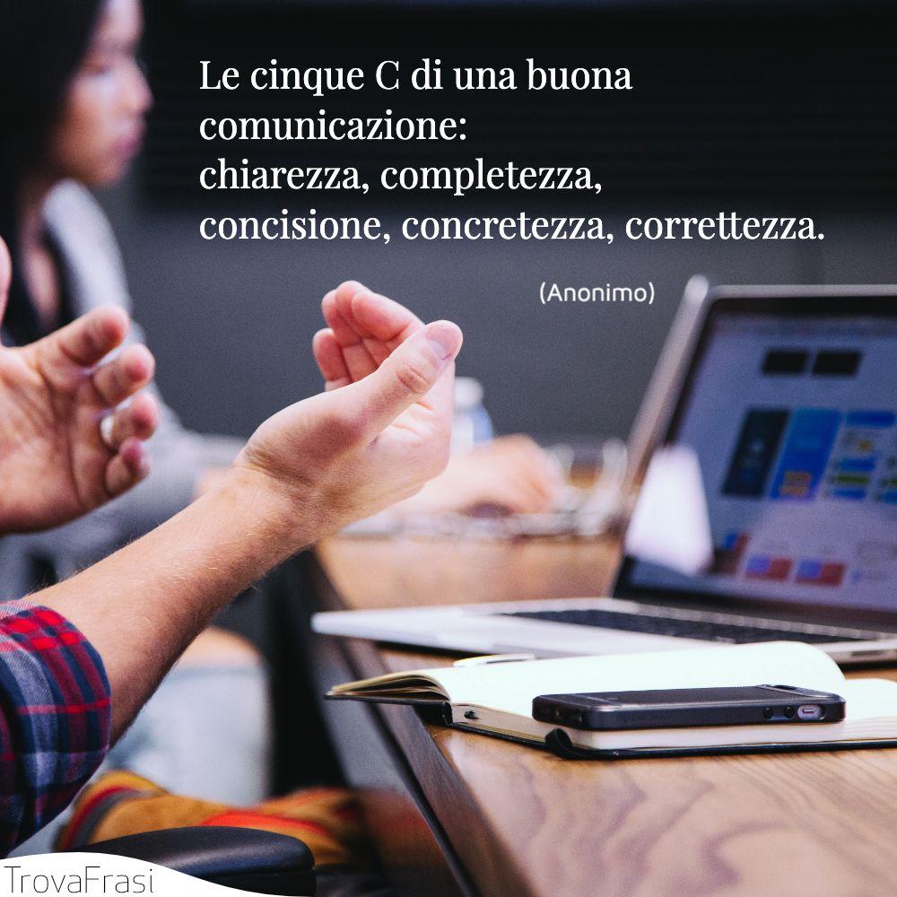 Le cinque C di una buona comunicazione: chiarezza, completezza, concisione, concretezza, correttezza.