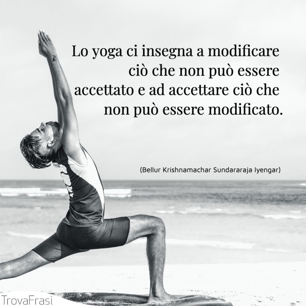 Lo yoga ci insegna a modificare ciò che non può essere accettato e ad accettare ciò che non può essere modificato.