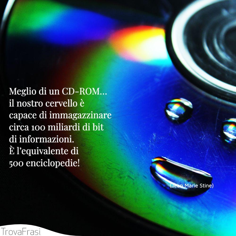 Meglio di un CD-ROM… il nostro cervello è capace di immagazzinare circa 100 miliardi di bit di informazioni. È l'equivalente di 500 enciclopedie!