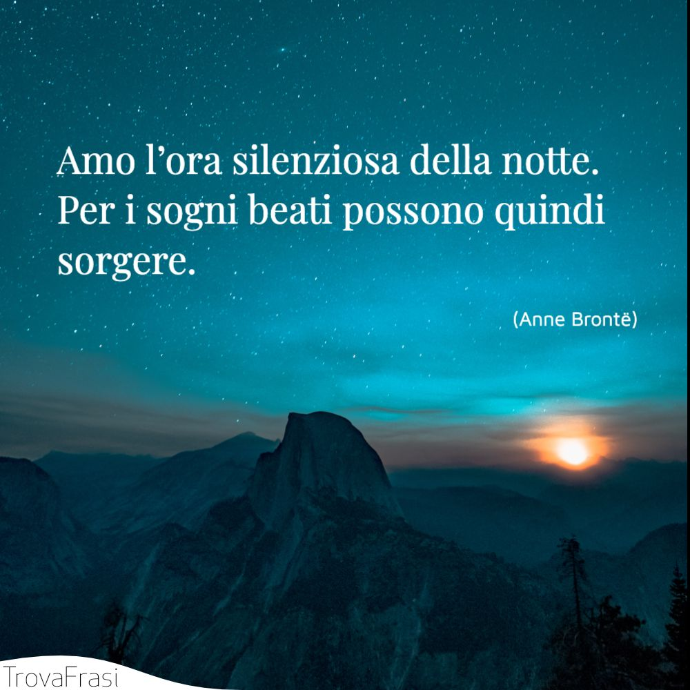Amo l'ora silenziosa della notte. Per i sogni beati possono quindi sorgere.