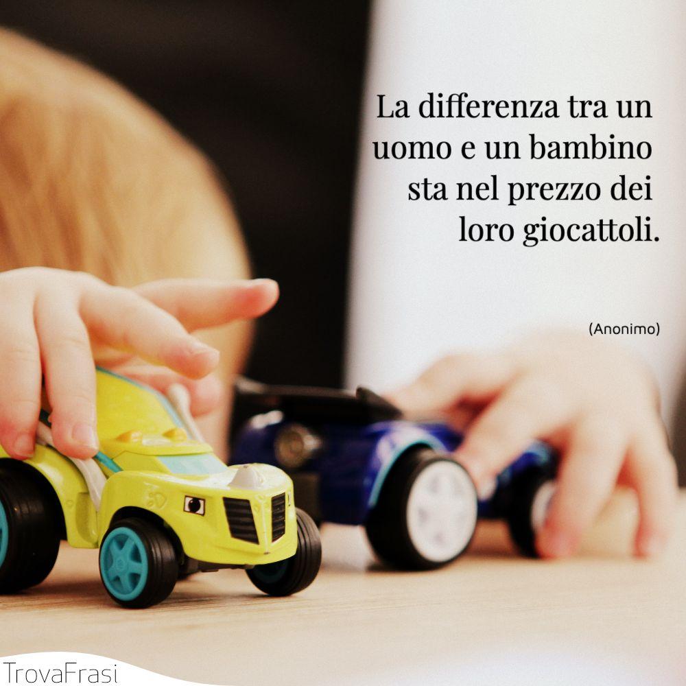 La differenza tra un uomo e un bambino sta nel prezzo dei loro giocattoli.