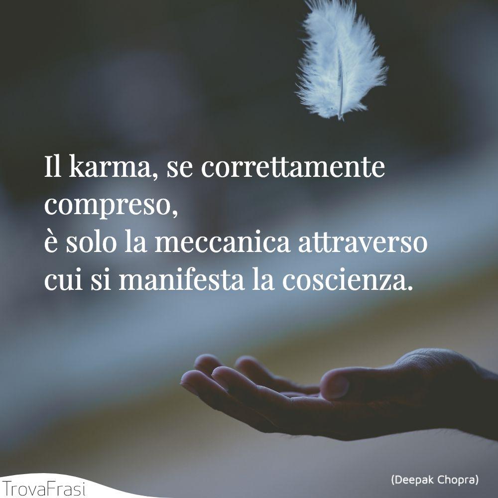 Il karma, se correttamente compreso, è solo la meccanica attraverso cui si manifesta la coscienza.