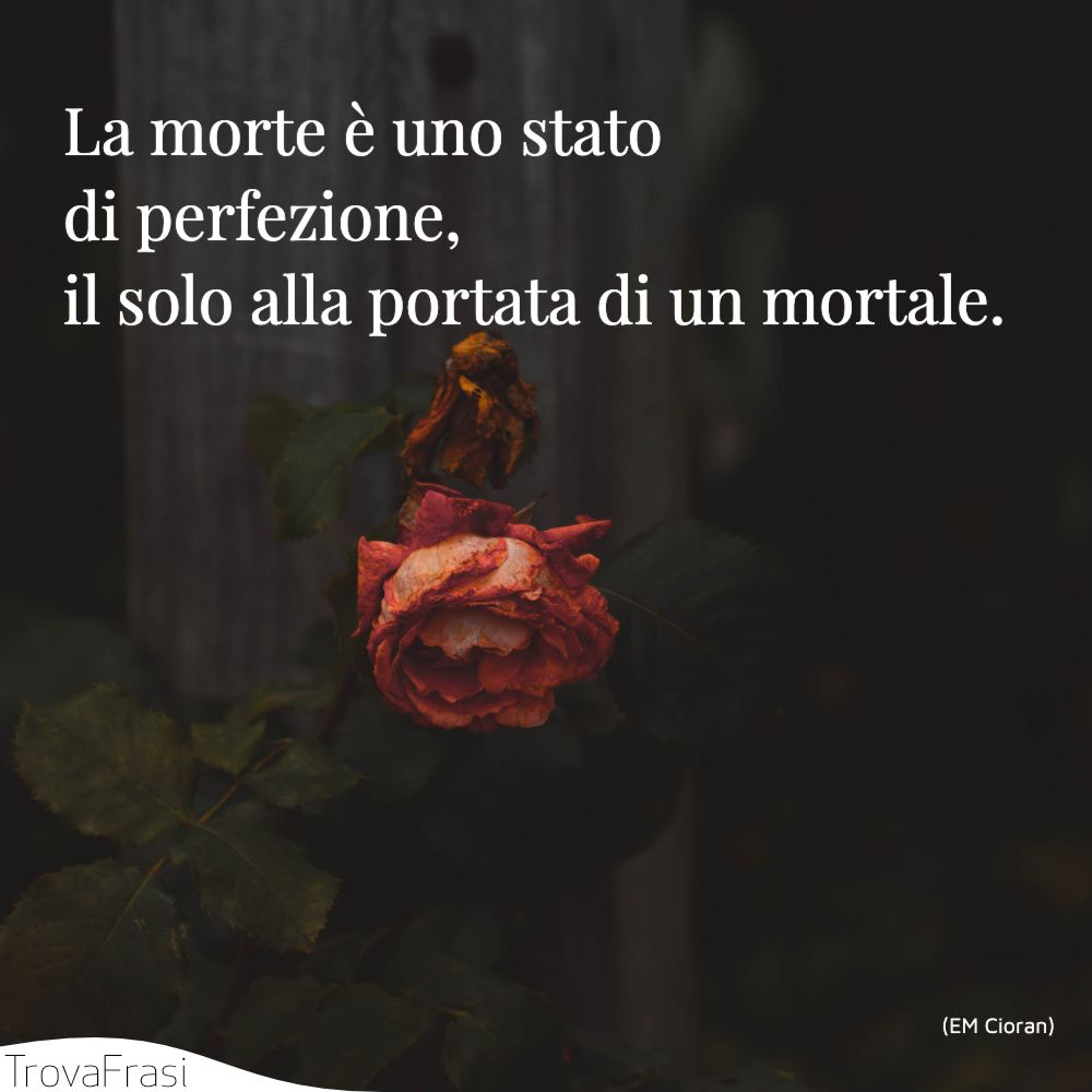 La morte è uno stato di perfezione, il solo alla portata di un mortale.