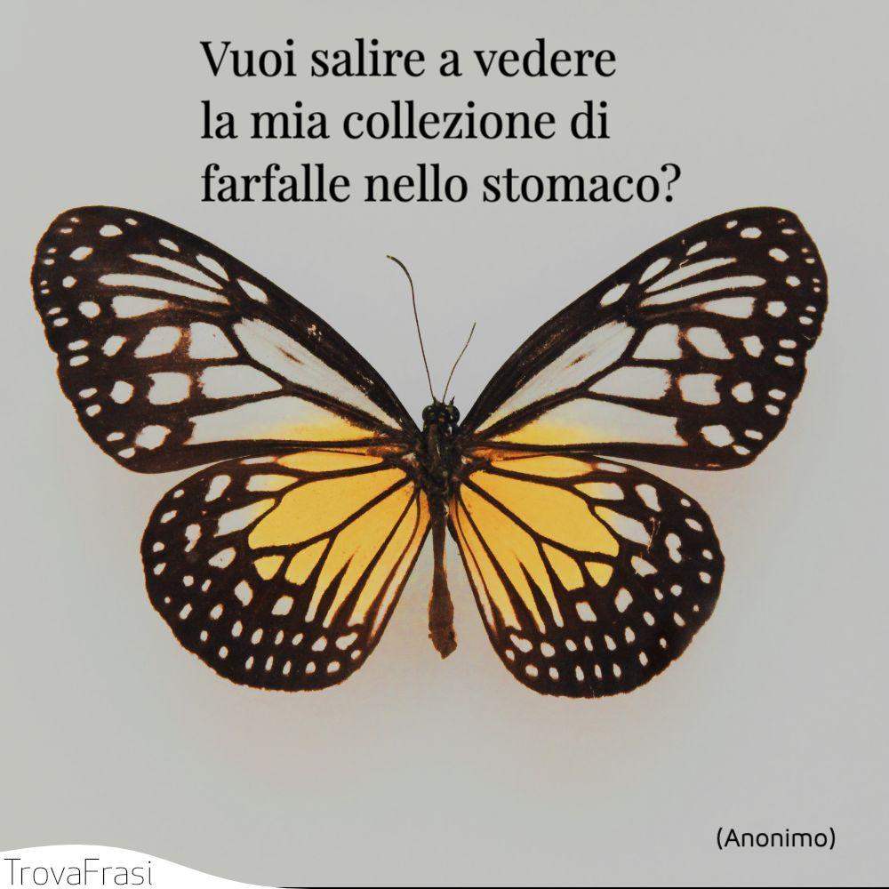 Vuoi salire a vedere la mia collezione di farfalle nello stomaco?