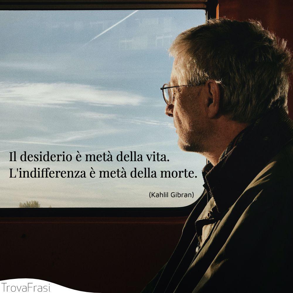 Il desiderio è metà della vita. L'indifferenza è metà della morte.