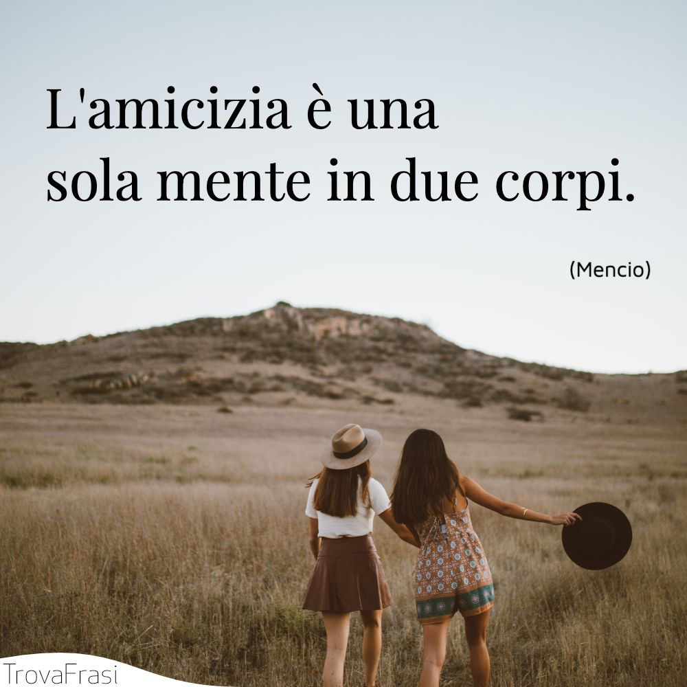 L'amicizia è una sola mente in due corpi.