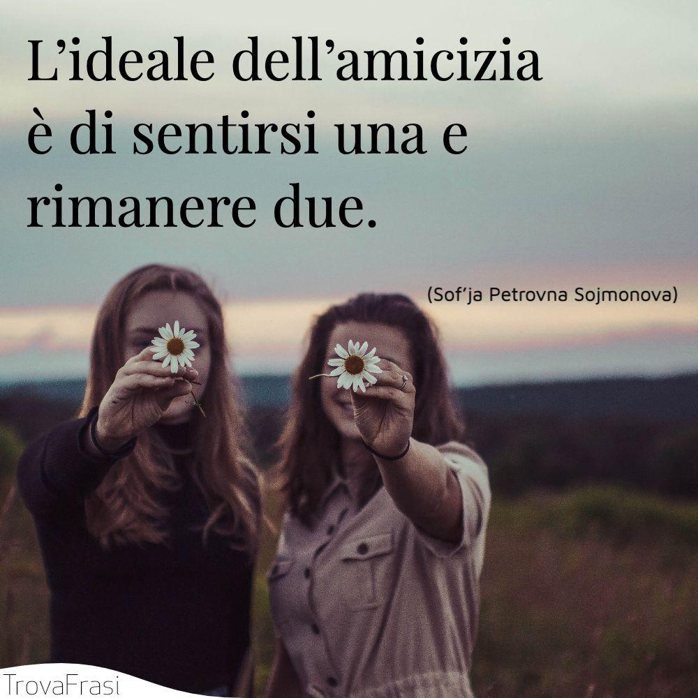L'ideale dell'amicizia è di sentirsi una e rimanere due.
