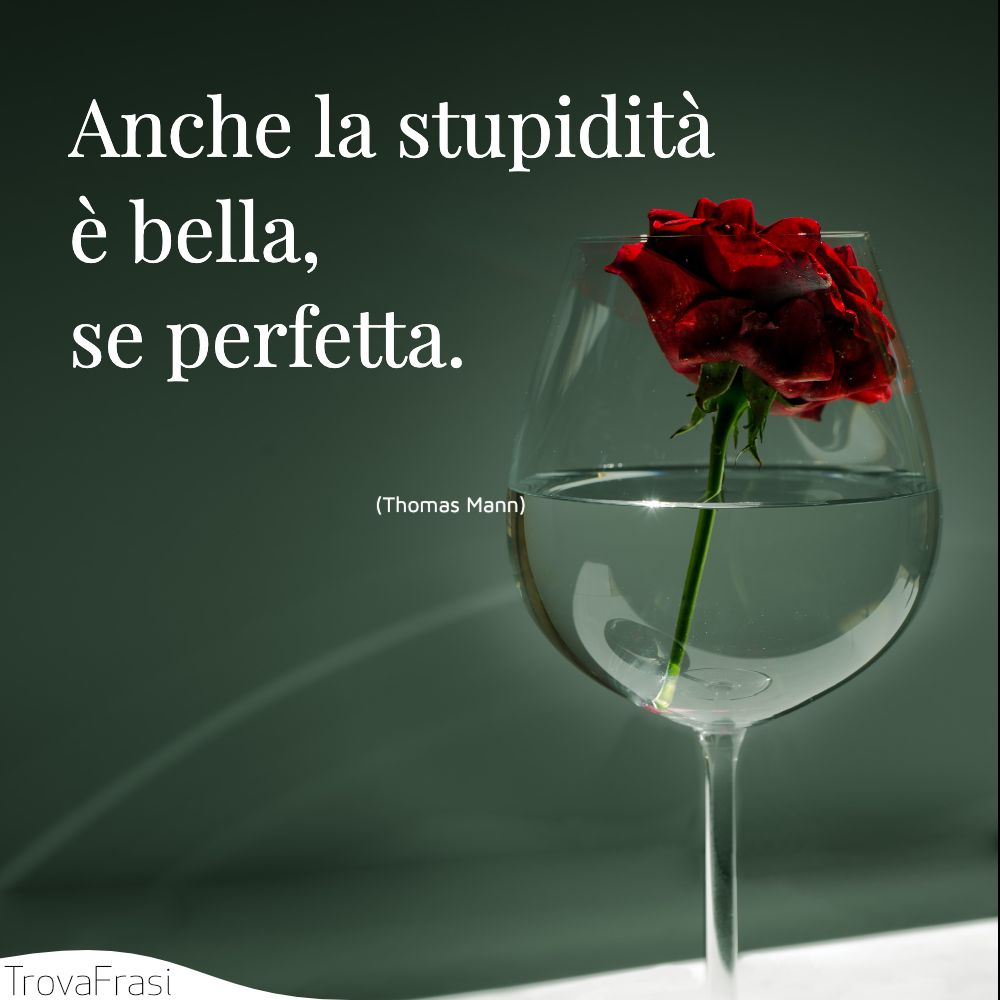 Anche la stupidità è bella, se perfetta.