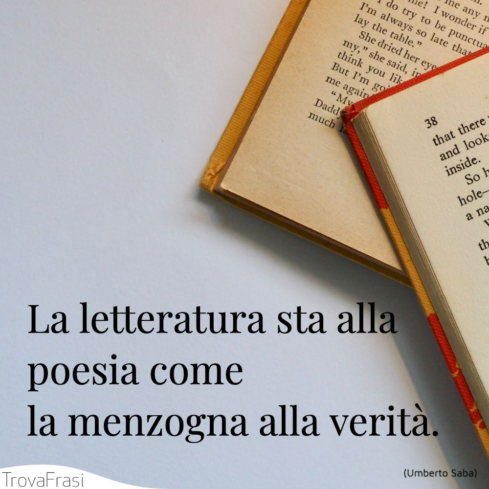 La letteratura sta alla poesia come la menzogna alla verità.