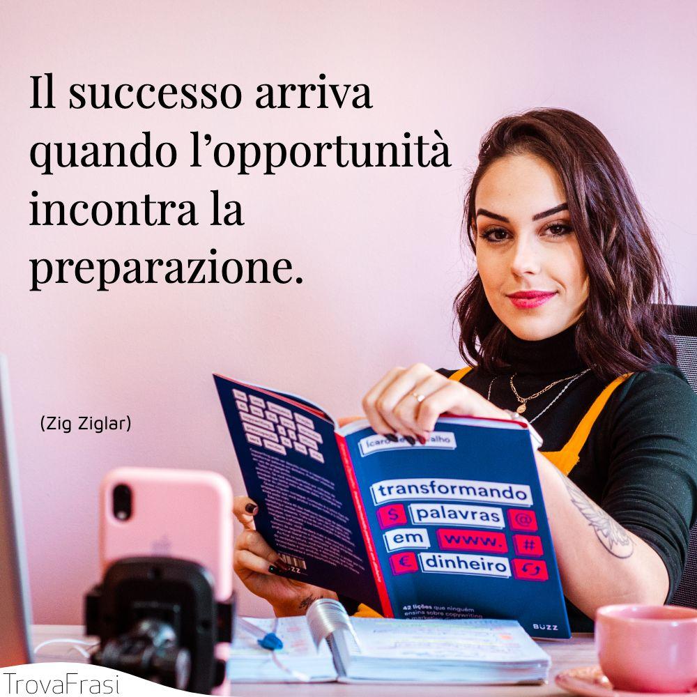 Il successo arriva quando l'opportunità incontra la preparazione.