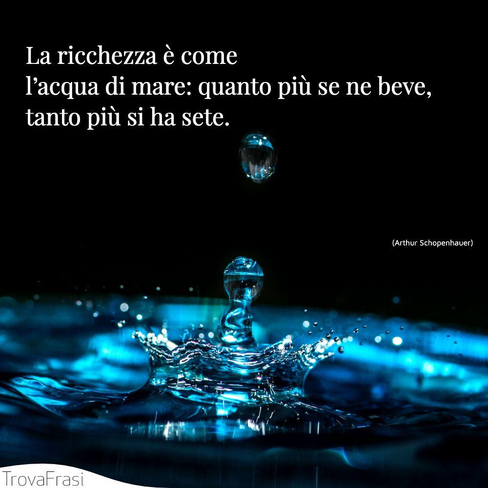 La ricchezza è come l'acqua di mare: quanto più se ne beve, tanto più si ha sete.