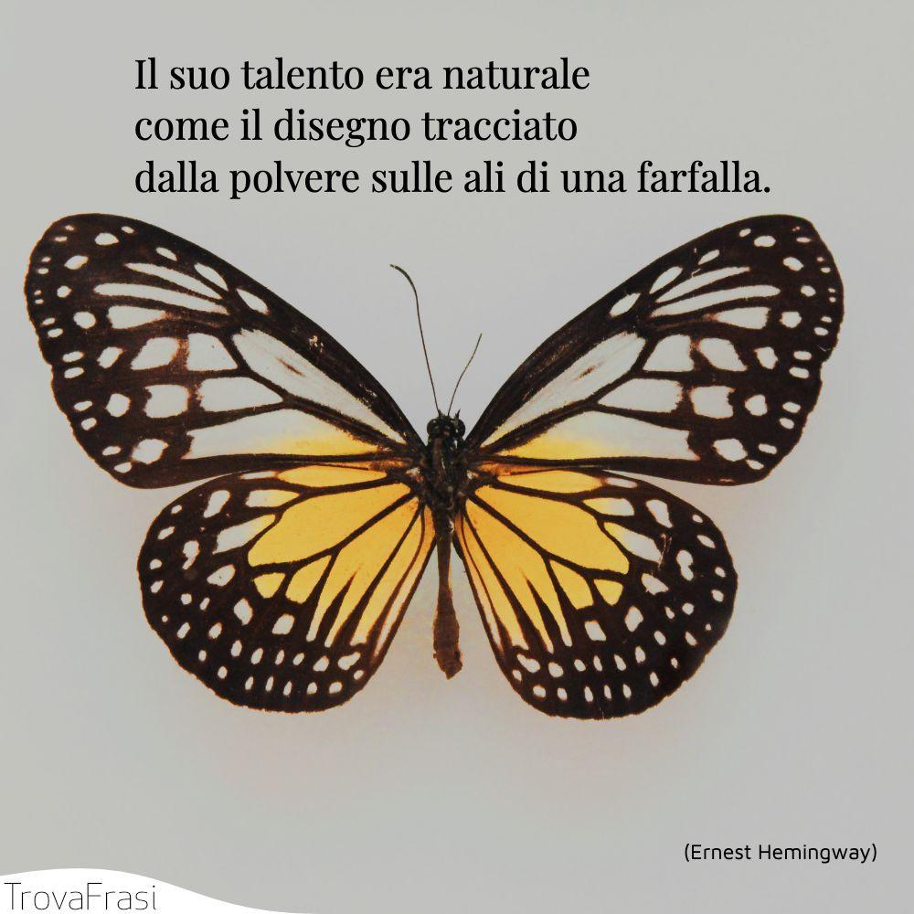 Il suo talento era naturale come il disegno tracciato dalla polvere sulle ali di una farfalla.
