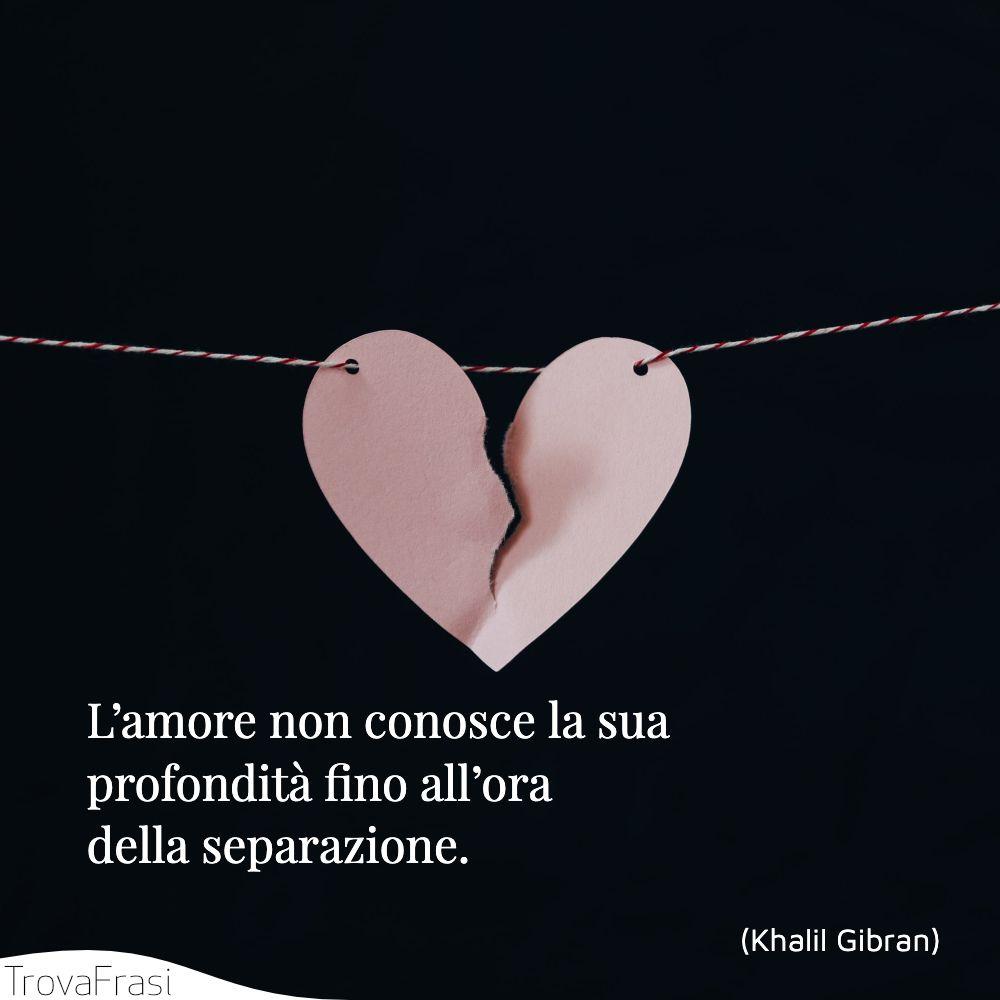 L'amore non conosce la sua profondità fino all'ora della separazione.