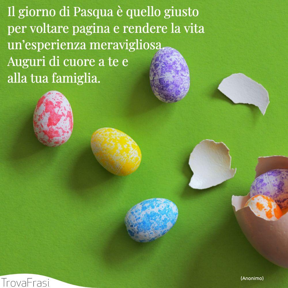 Il giorno di Pasqua è quello giusto per voltare pagina e rendere la vita un'esperienza meravigliosa. Auguri di cuore a te e alla tua famiglia.