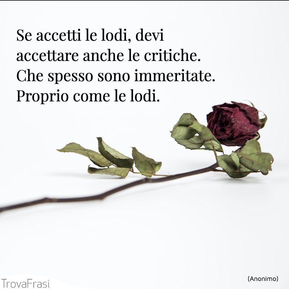 Se accetti le lodi, devi accettare anche le critiche. Che spesso sono immeritate. Proprio come le lodi.