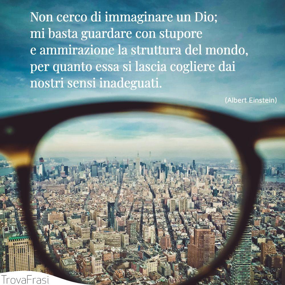 Non cerco di immaginare un Dio; mi basta guardare con stupore e ammirazione la struttura del mondo, per quanto essa si lascia cogliere dai nostri sensi inadeguati.