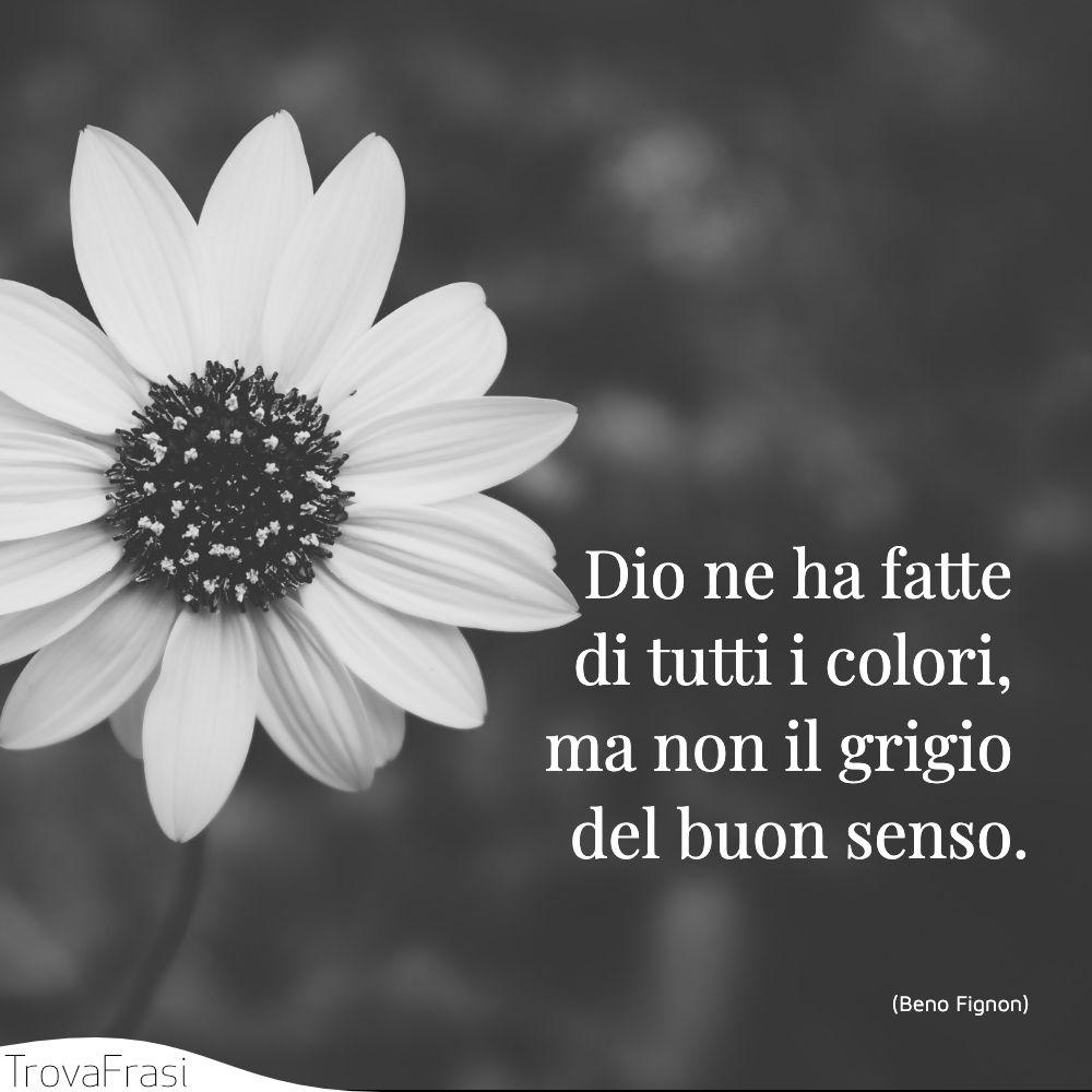 Dio ne ha fatte di tutti i colori, ma non il grigio del buon senso.
