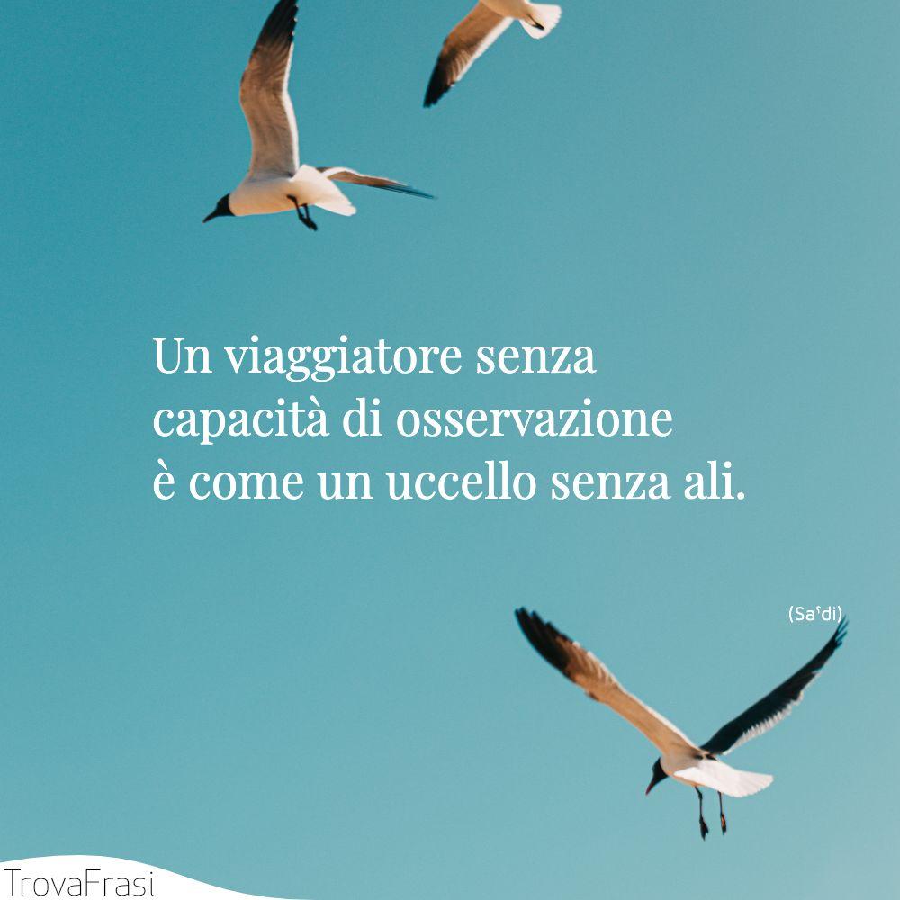 Un viaggiatore senza capacità di osservazione è come un uccello senza ali.