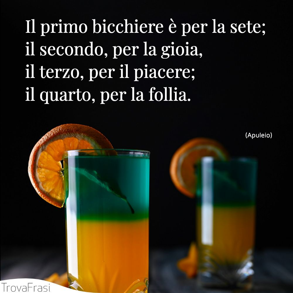 Il primo bicchiere è per la sete;il secondo, per la gioia,il terzo, per il piacere;il quarto, per la follia.