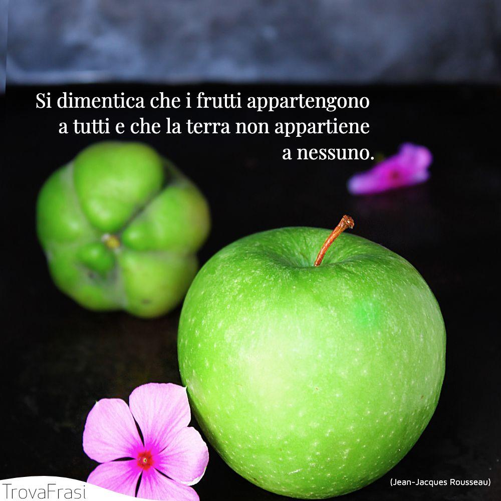 Si dimentica che i frutti appartengono a tutti e che la terra non appartiene a nessuno.
