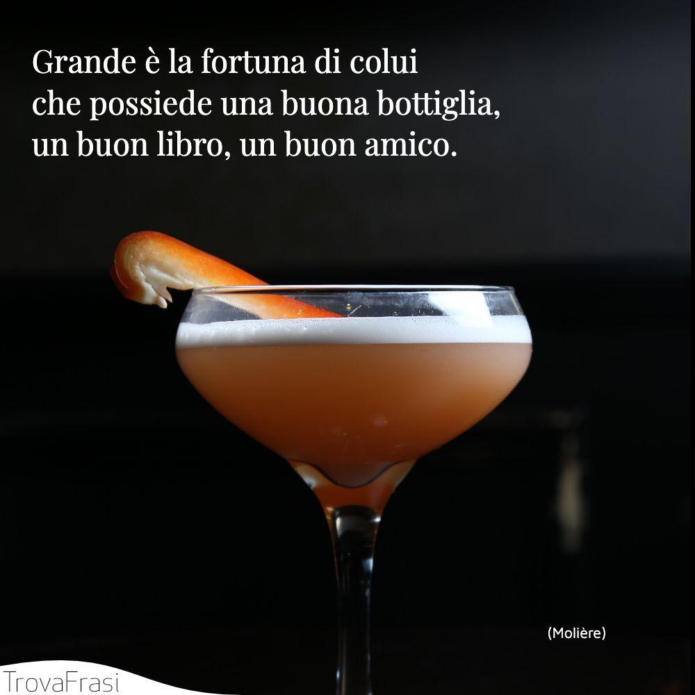 Grande è la fortuna di colui che possiede una buona bottiglia, un buon libro, un buon amico.